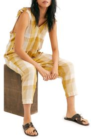 Free People Don't You Want This Checked Jumpsuit