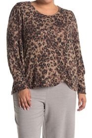 C & C California Printed Front Knot Top