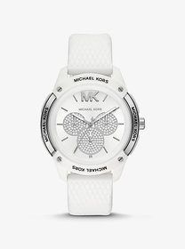 Michael Kors Ryder Embossed Silicone and Silver-To