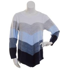 Womens AGB Color Block Point Hem Crew Neck Sweater