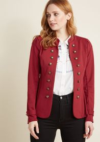 ModCloth ModCloth Glam Believer Knit Jacket in Red