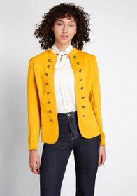 ModCloth ModCloth Glam Believer Knit Jacket Mustar