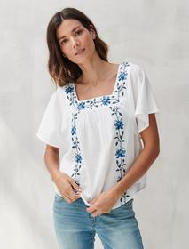 Lucky Brand Embroidered Ada Square Neck Top