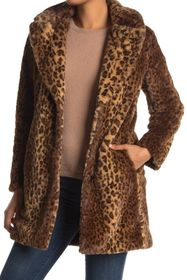 Nine West Leopard Print Faux Fur Coat