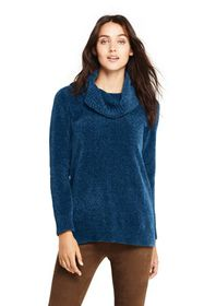 Lands End Women's Chenille Tunic Sweater Cowl Neck