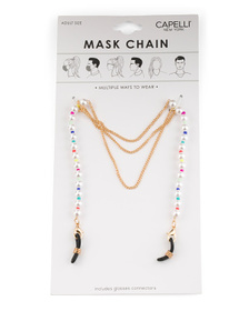 Women's Mask Chain With Pearls And Seed Beads