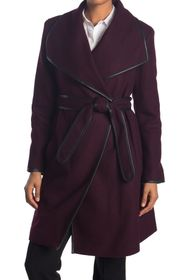 DKNY Asymmetrical Belted Wool Coat