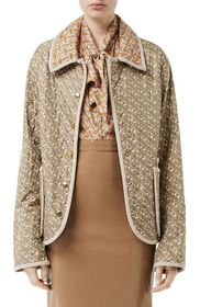 Burberry Silk Twill Quilted Exaggerated Collar Jac