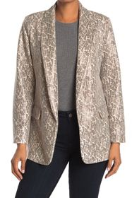 Love Token Faux Leather Snake Print Blazer Jacket