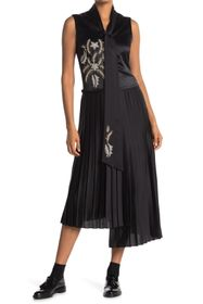 Burberry Flor Embroidered Asymmetrical Pleated Dre