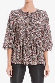 Max Studio Floral 3/4 Sleeve Pintuck Blouse