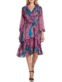 Tahari by ASL Long Sleeve Printed Paisley Chiffon