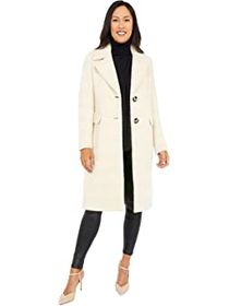Calvin Klein Single Breasted Wool Coat with Side P