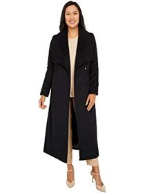 """Cole Haan 50"""" Slick Wool Wrap Coat with Exaggerate"""