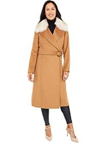 Cole Haan Slick Wool Wrap Coat with Faux Fox Colla