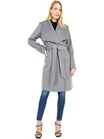"""Cole Haan 39"""" Slick Wool Wrap Coat with Exaggerate"""
