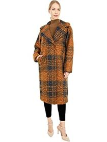 Calvin Klein Oversized Plaid Wool Coat with Button