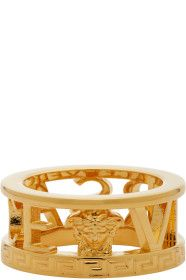 Versace - Gold Logo Cut-Out Ring