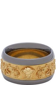 Versace - Gold & Gunmetal Brocade Ring