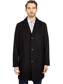 """Cole Haan 37"""" Melton Wool Notched Collar Coat with"""