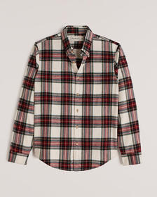 Flannel Button-Up Shirt, CREAM & RED PLAID