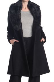 Nine West Faux Fur Shawl Collar Wool Blend Coat