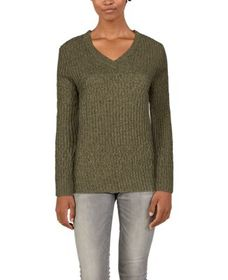 Natural Reflections Cable V-Neck Long-Sleeve Sweat
