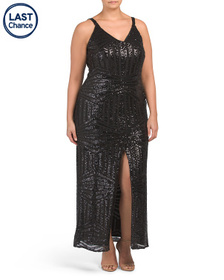 NIGHTWAY Plus All Over Sequins V-neck Gown