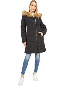 "Cole Haan 36"" Quilted Exposed Zip Front Coat with"