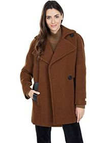 Calvin Klein Wool Peacoat with One-Button Closure