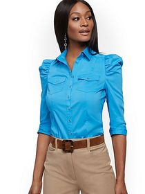 Petite Puff-Sleeve Poplin Shirt - 7th Avenue - New
