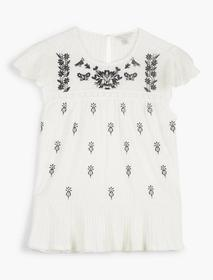 Lucky Brand Embroidered Ruffle Sleeve Top