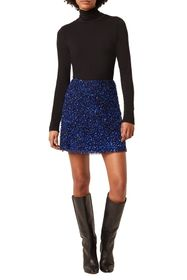French Connection Eero Sequined Chiffon Mini Skirt