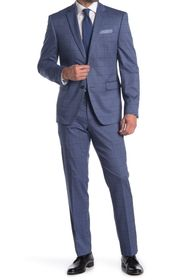 Perry Ellis Dark Blue Plaid Two Button Notch Lapel