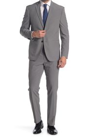 Perry Ellis Solid Grey Two Button Notch Lapel Slim