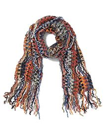 Earth Tone Multi Yarn Fringe Scarf - Sweet Pea - N