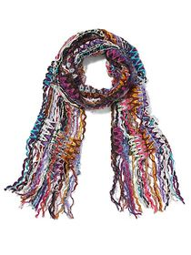 Purple Multi Yarn Fringe Scarf - Sweet Pea - New Y