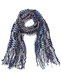Blue Multi Yarn Fringe Scarf - Sweet Pea - New Yor