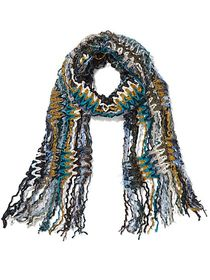 Green Multi Yarn Fringe Scarf - Sweet Pea - New Yo