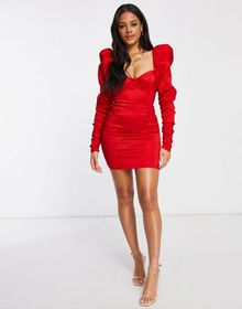 Club L ruched body-conscious mini dress with puff