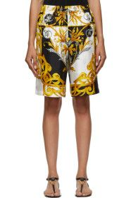 Versace - White & Gold Barocco Shorts