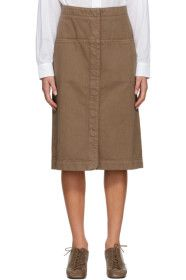 Lemaire - Brown Denim Straight Skirt