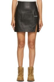 Off-White - Black Leather Side Split Miniskirt