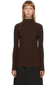 MM6 Maison Margiela - Brown Button Turtleneck