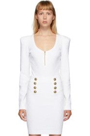 Balmain - White Diamond Knit Long Sleeve Bodysuit