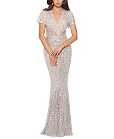 Twist-Front Sequinned Gown