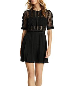 REISS - Athena Lace Top Pleated Mini Dress