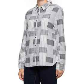 dylan Frayed Patchwork Plaid Shirt - Long Sleeve (