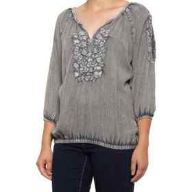 Solitaire Embroidered Washed Shirt - 3/4 Sleeve (F