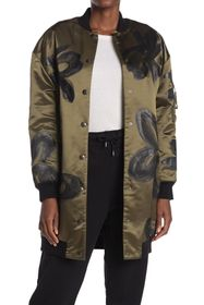 MOSCHINO Painted Flower Long Line Bomber Jacket